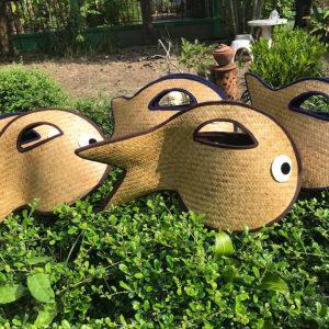 Thailand handicrafts Wholesale Bamboo Handbag with fish design