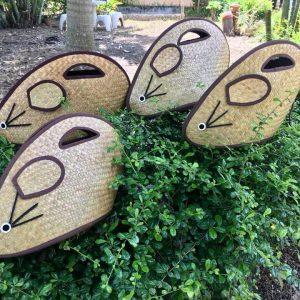 Thailand handicrafts Wholesale Bulrush handbag with rat pattern