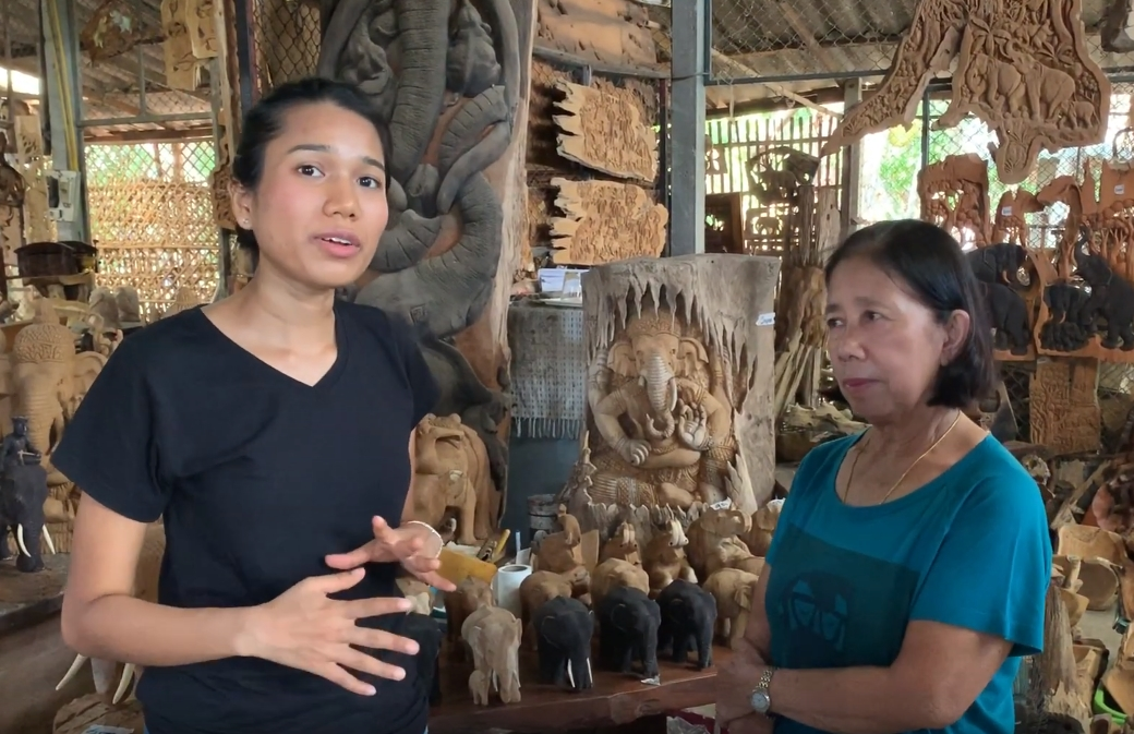 Teak Elephants and Their Textured Carvings from Chiang Mai Woodcrafts Village